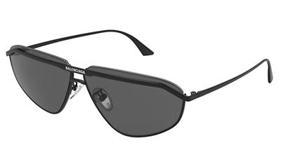 Balenciaga BB0138S 001 black black grey 66 Akiniai nuo saulės Vyrams