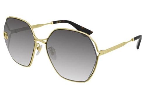 Gucci GG0818SA 005 gold gold grey 63 Akiniai nuo saulės Moterims