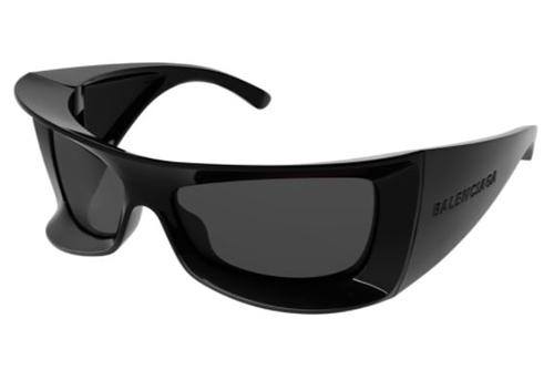 Balenciaga BB0156S 001 black black grey 64 Akiniai nuo saulės Moterims